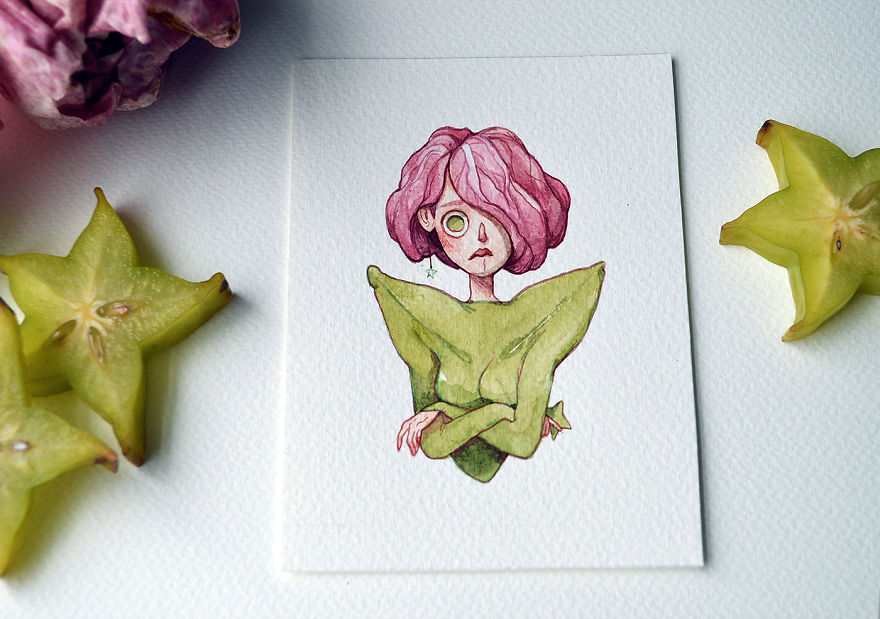 A Concerned Pink Lettuce And Star Fruit--a cartoon character drew by Marija Tiurina
