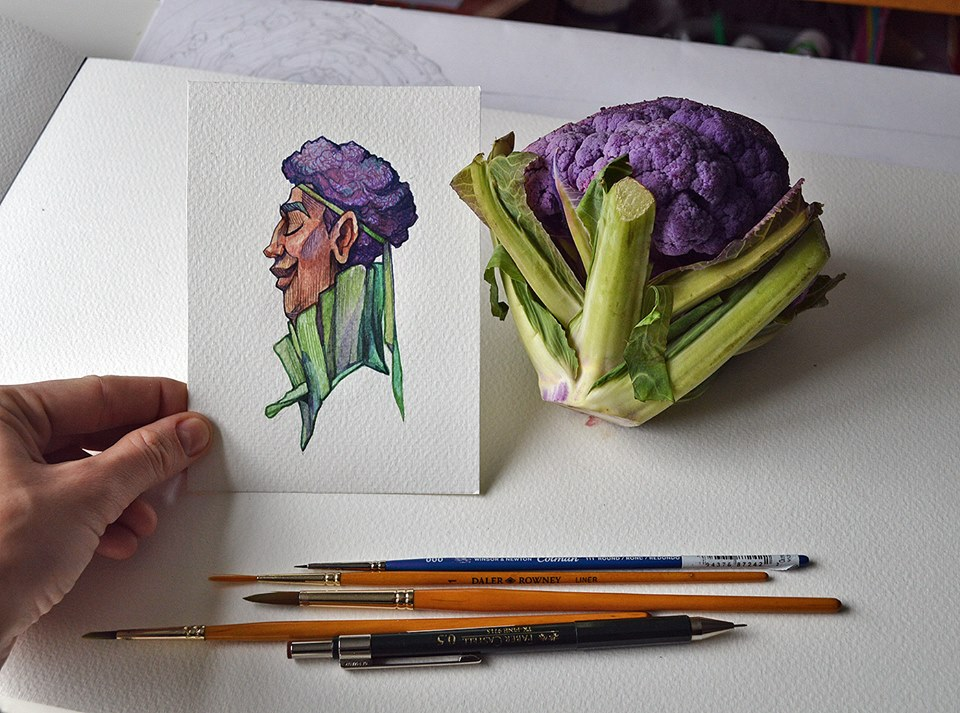 A chill purple broccoli--a cartoon character drew by Marija Tiurina