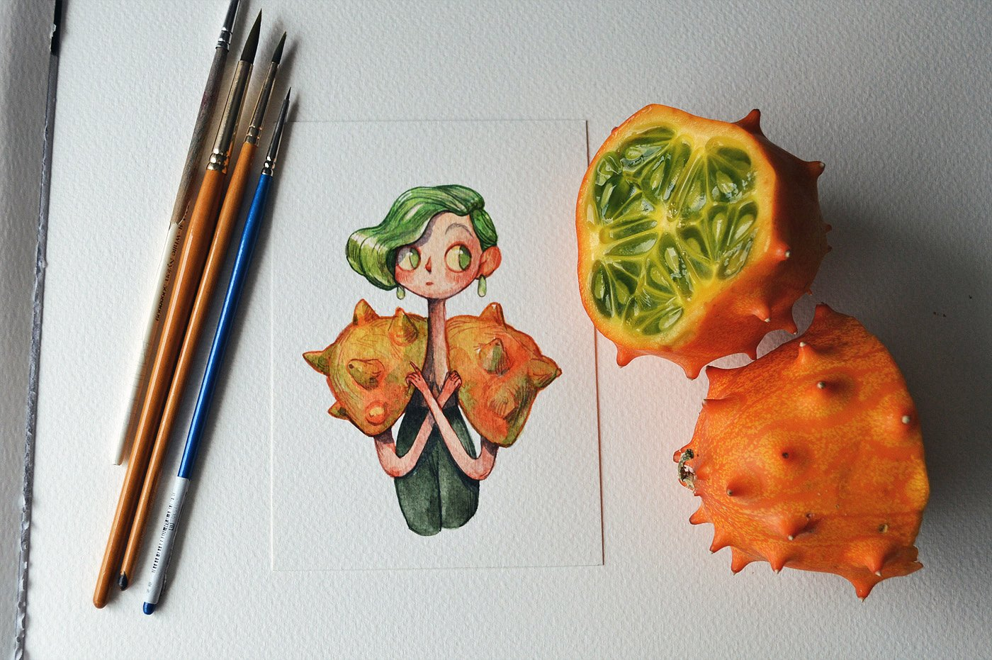 A curious horned melon--a cartoon character drew by Marija Tiurina