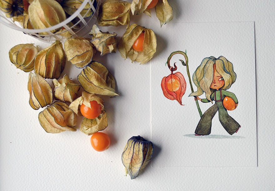 A sneaky physalis--a cartoon character drew by Marija Tiurina