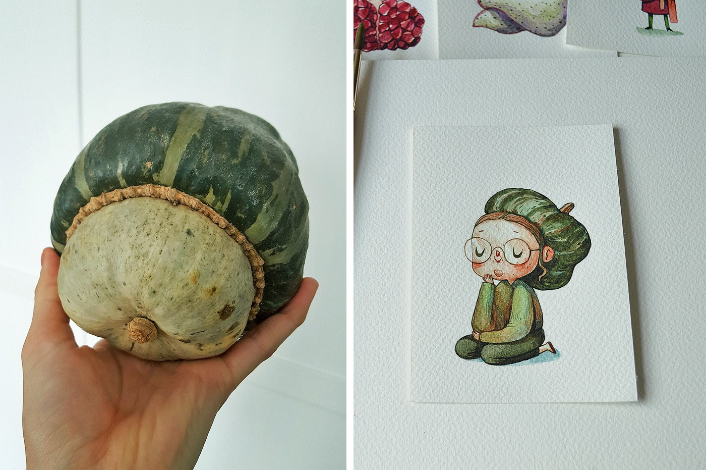 A thoughtful turban squash--a cartoon character drew by Marija Tiurina