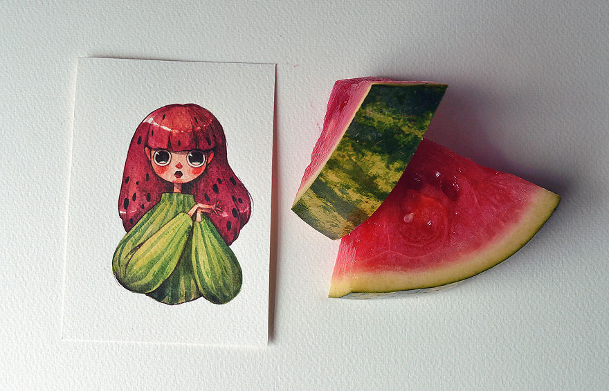 An Affectionate Watermelon--a cartoon character drew by Marija Tiurina