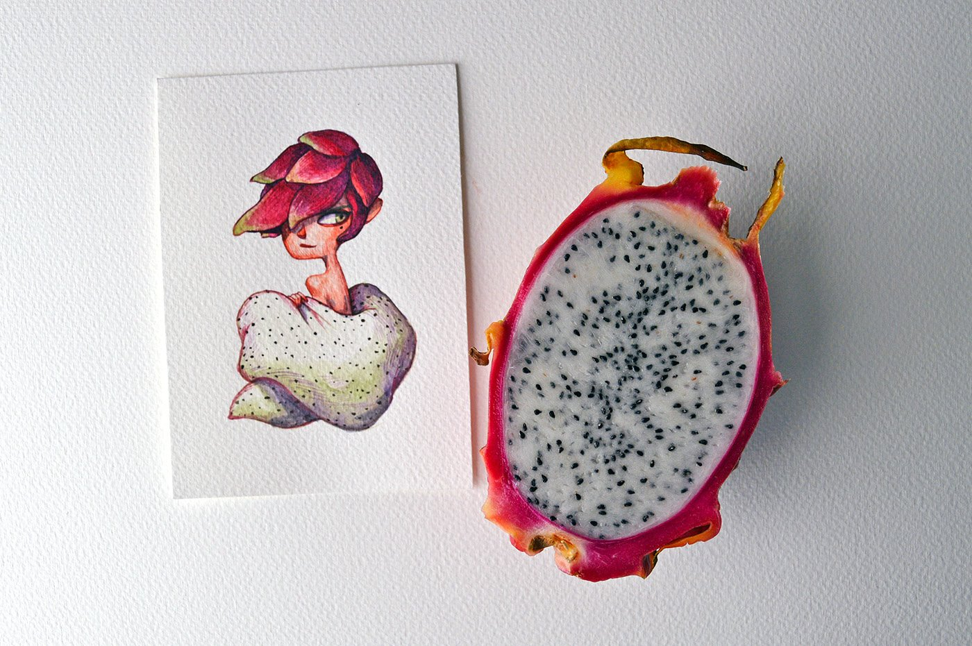 An alluring dragon fruit--a cartoon character drew by Marija Tiurina