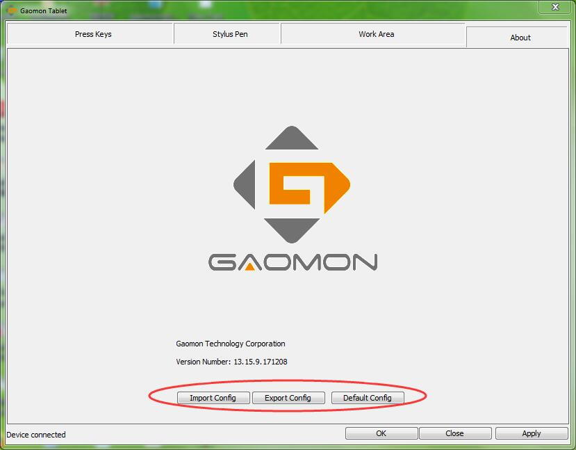 Export, Import, Default buttons in GAOMON driver interface