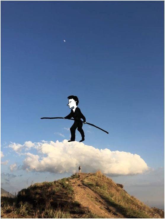 Icy's work--a man with a stick in his hand on the cloud
