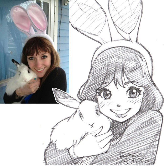 Robert Dejesus's work-- bunny girl and her white rabbit