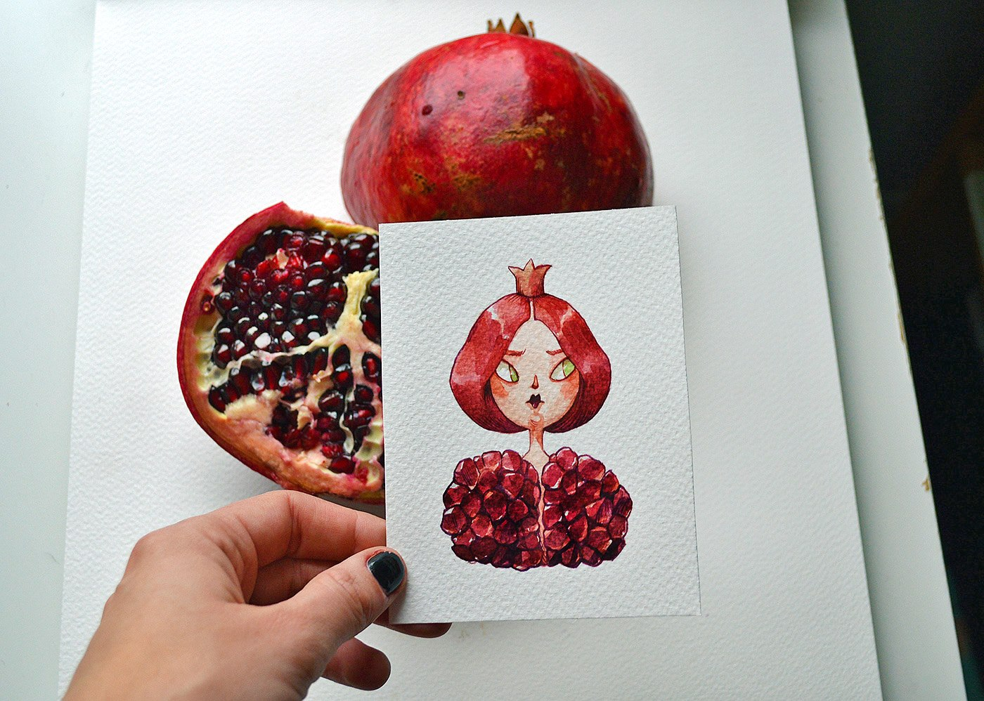 An arrogant pomegranate--a cartoon character drew by Marija Tiurina