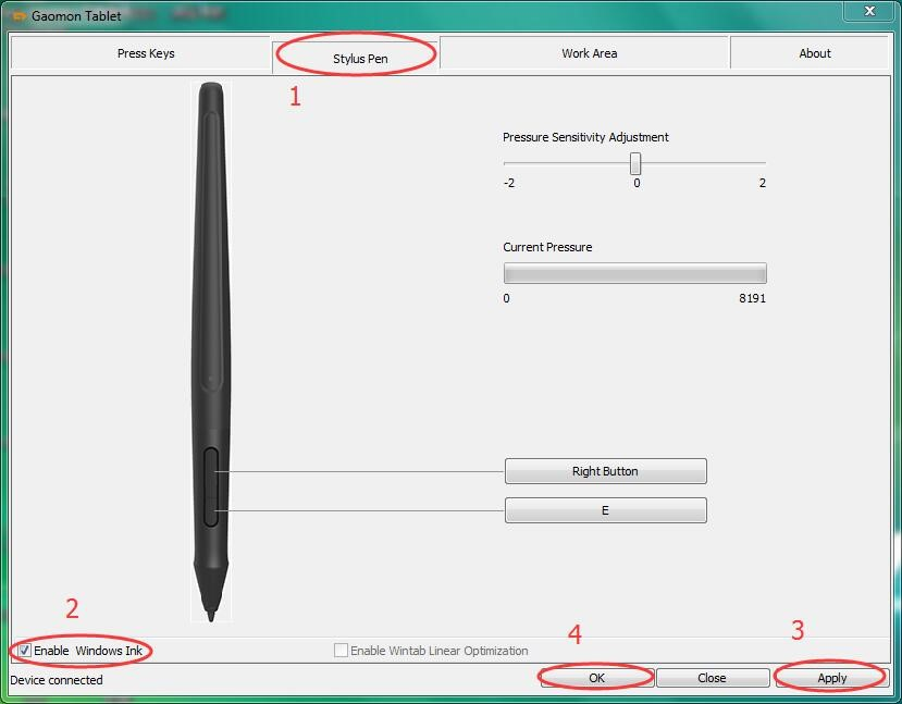 check the box of 'Enable Windows Ink' in GAOMON tablet driver interface