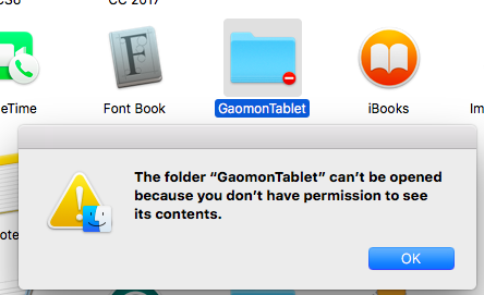A box reminding GAOMON driver 'you don't have permission' in Mac
