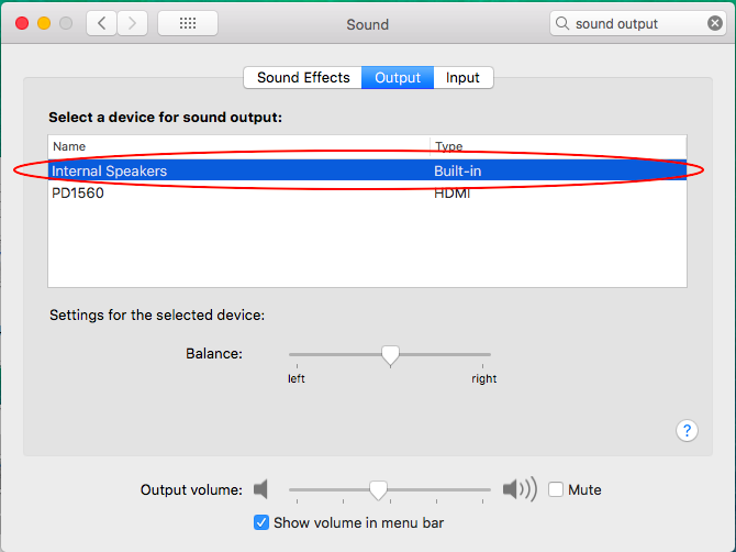Click 'Internal Speakers' to select it as the device for sound output