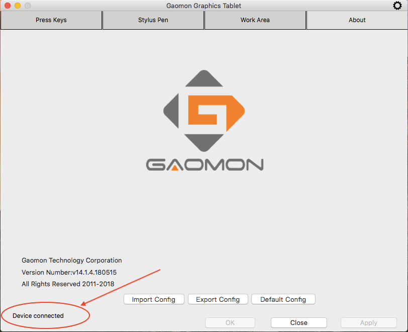 GAOMON driver shows 'Device Connected' in Mac--cursor offset in GAOMON