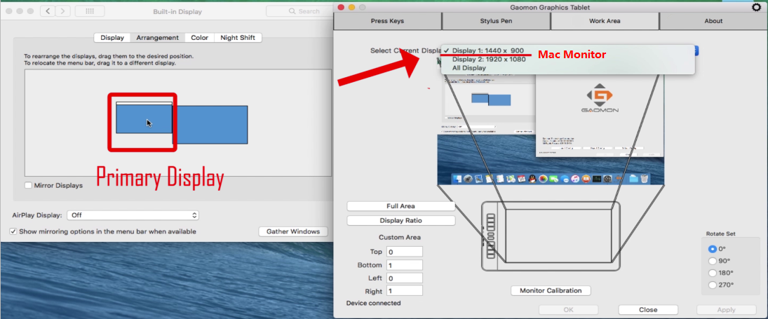 Mac monitor is the primary display and display 1--GAOMON driver