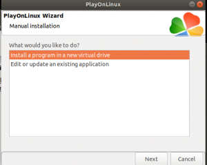 Select 'Install a program in a new virtual drive' -- run GAOMON on Linux