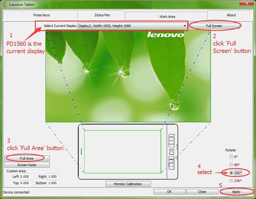 Full screen-->Full area-->rotate 180 degree--for GAOMON left-handed mode