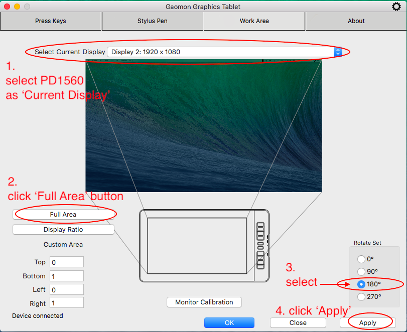 to flip the work area and 'Current Display' must be PD1560 in GAOMON driver in Mac OS