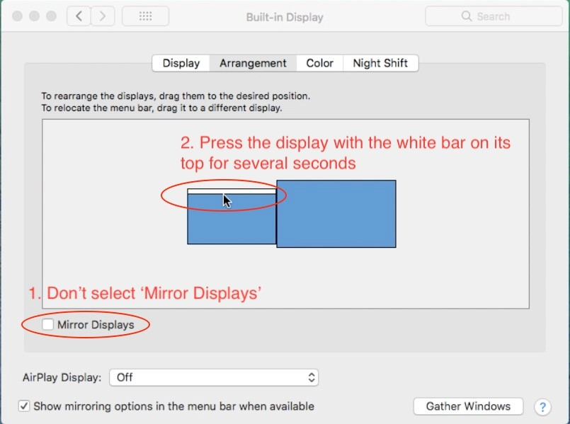 move the mouse pointer to press the blue box with the white bar on its top--to select current display in GAOMON driver