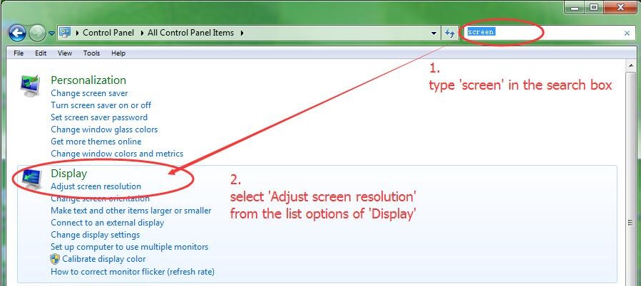 Type 'screen' in the search box and select 'Adjust screen resolution' to bring up the window of 'Screen resolution'