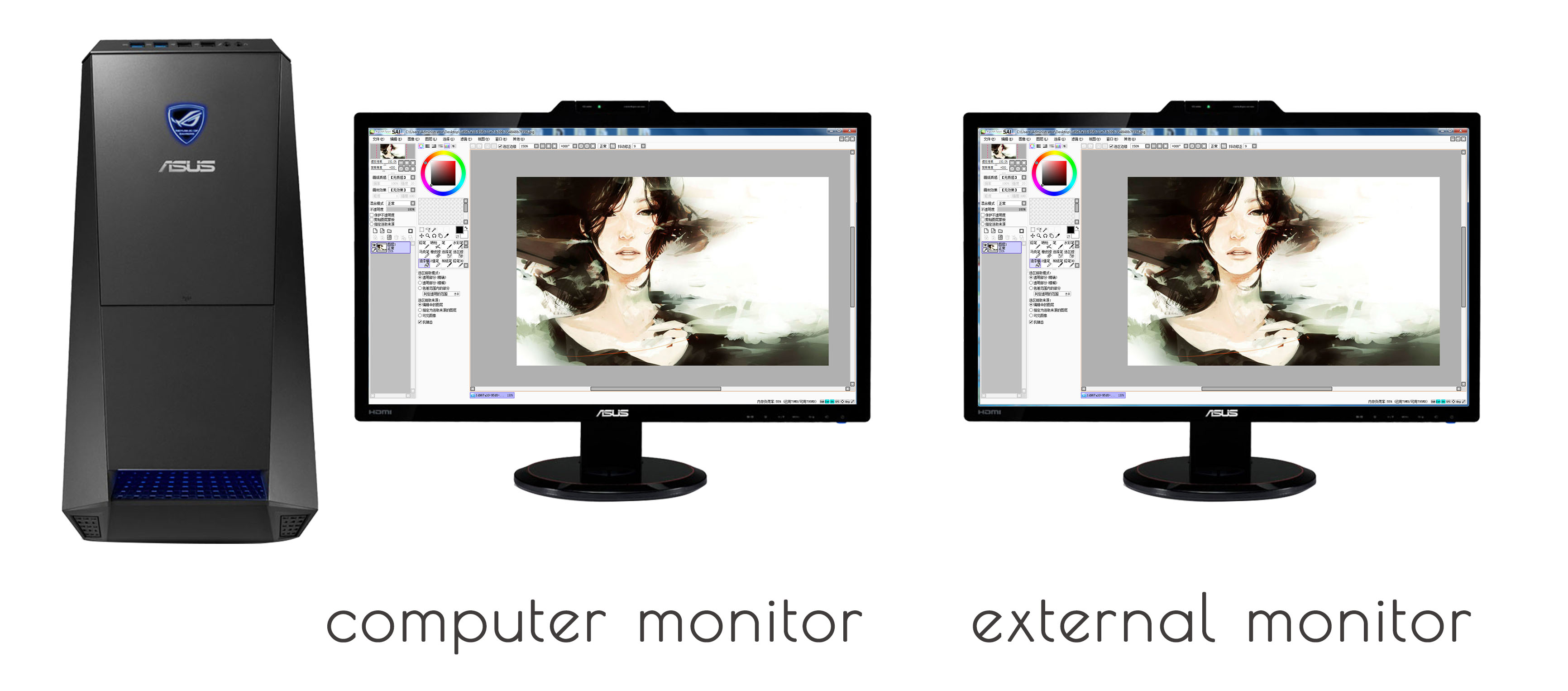 Duplicate-desktop: two monitors show the same image