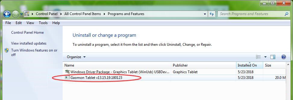 Find out 'Gaomon tablet' and right click it and click 'uninstall'