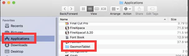 find GaomonTablet folder