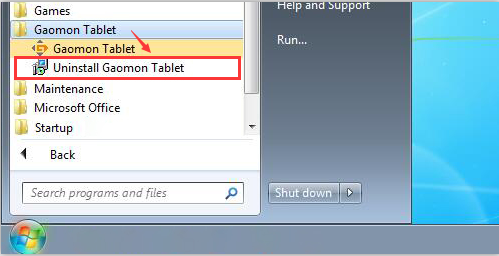 find out the file Gaomon Tablet and select uninstall Gaomon Tablet