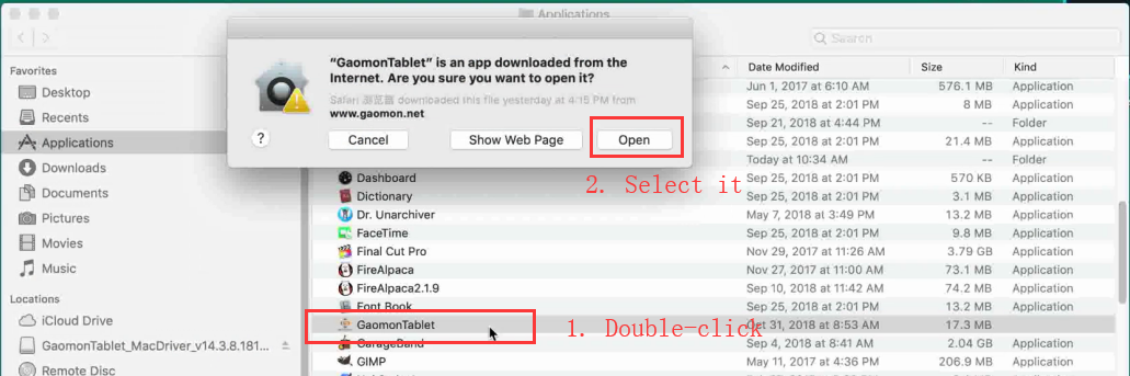 Double click to open GAOMON driver