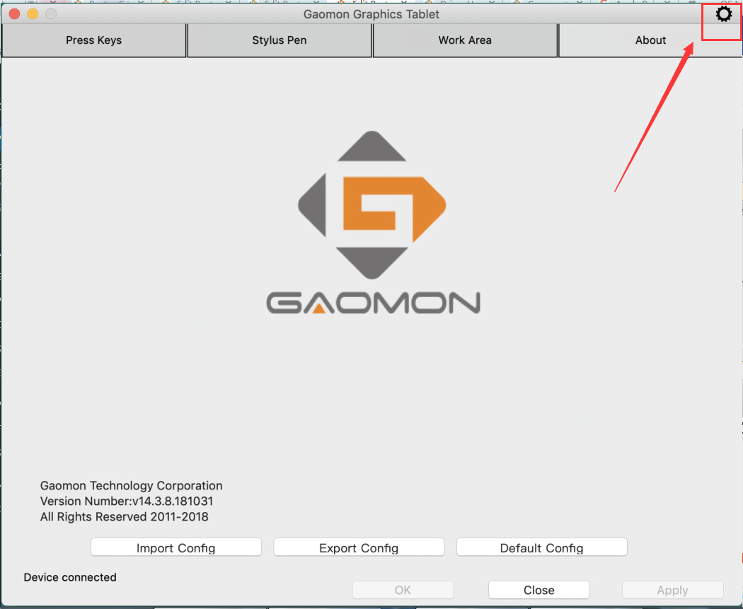uninstall GAOMON driver by using the gear