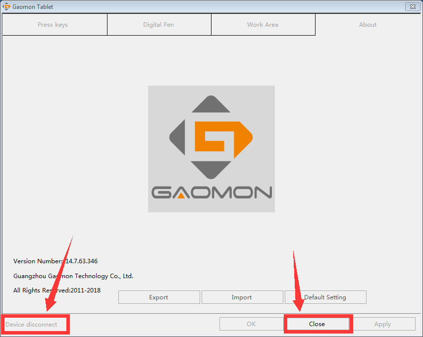 Device disconnect and all tabs in gray in GAOMON driver--GAOMON graphics tablet