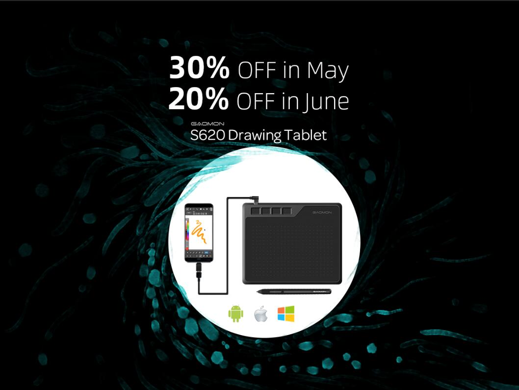 30% Off Sale on Android Compatible Pen Tablet S620