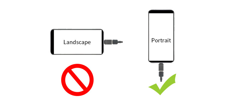 phone in landscape or portrait mode