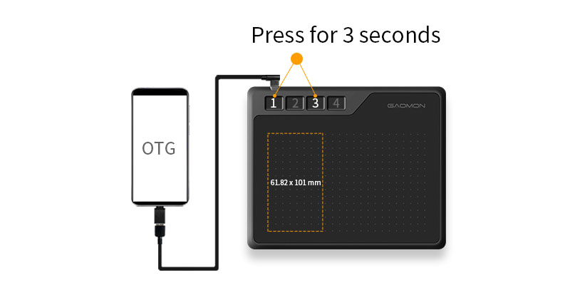 press button 1 + button 3 for 3 seconds to enter OTG mode