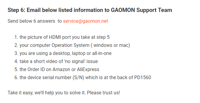 GAOMON PD1560 No signal