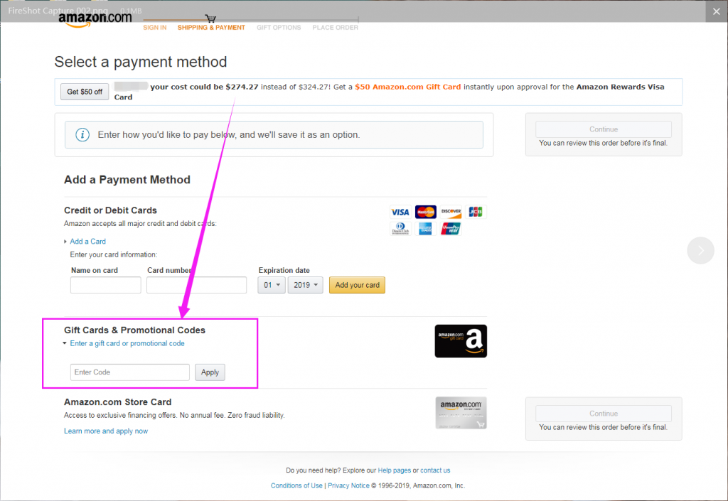where to enter gift code on US & CA Amazon - blog.gaomon.net
