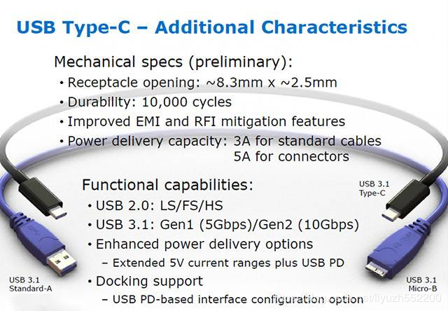 2.The specification and new features of USB type-C
