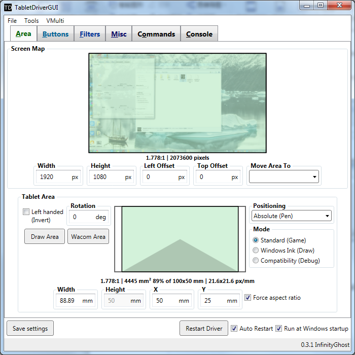 The user's interface of hawku tablet driver