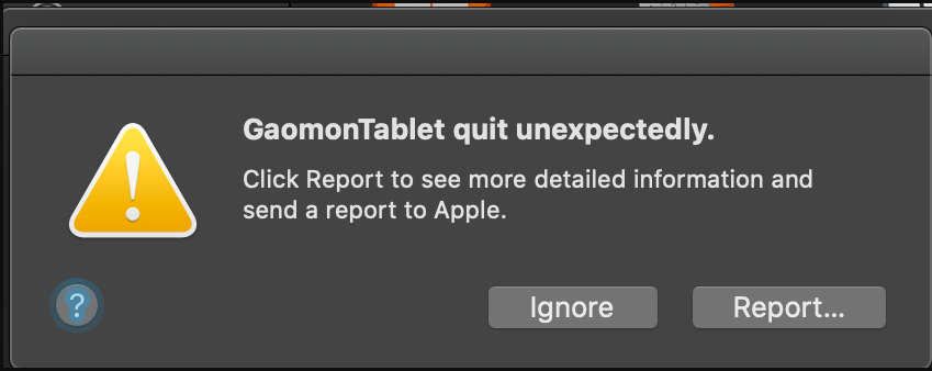 gaomon tablet driver quit working suddenly in Mac OS 10.15