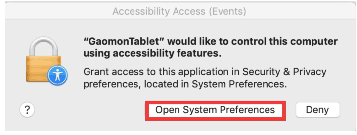 Open System Preference while installing gaomon tablet driver